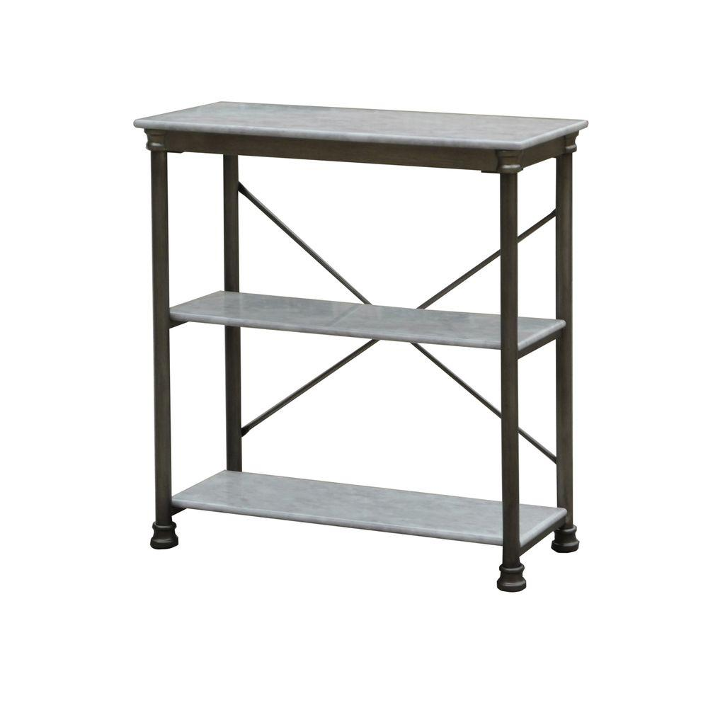 Home Styles Three Shelf 38 in. W x 39 in. H x 16 in. D, Marble and Steel Orleans Shelving Unit