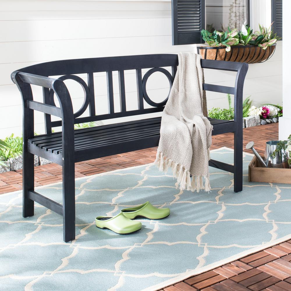 Moorpark 49.2 in. 2-Seat Dark Slate Gray Wood Outdoor Bench