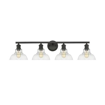 Carver 4-Light Bath Vanity in Black with Clear Glass Shades