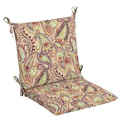 20 x 17 Outdoor Dining Chair Cushion in Olefin Chili Paisley