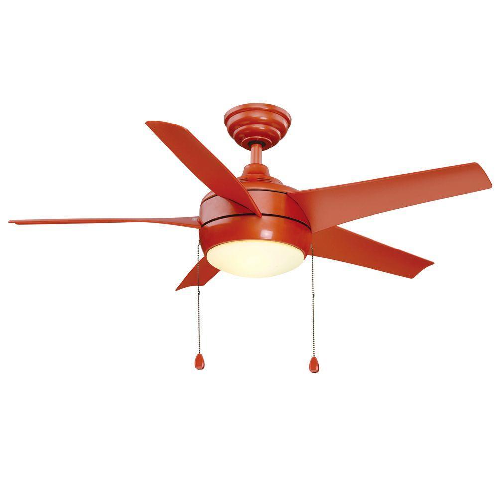 Windward 44 in. Indoor Orange Ceiling Fan with Light Kit