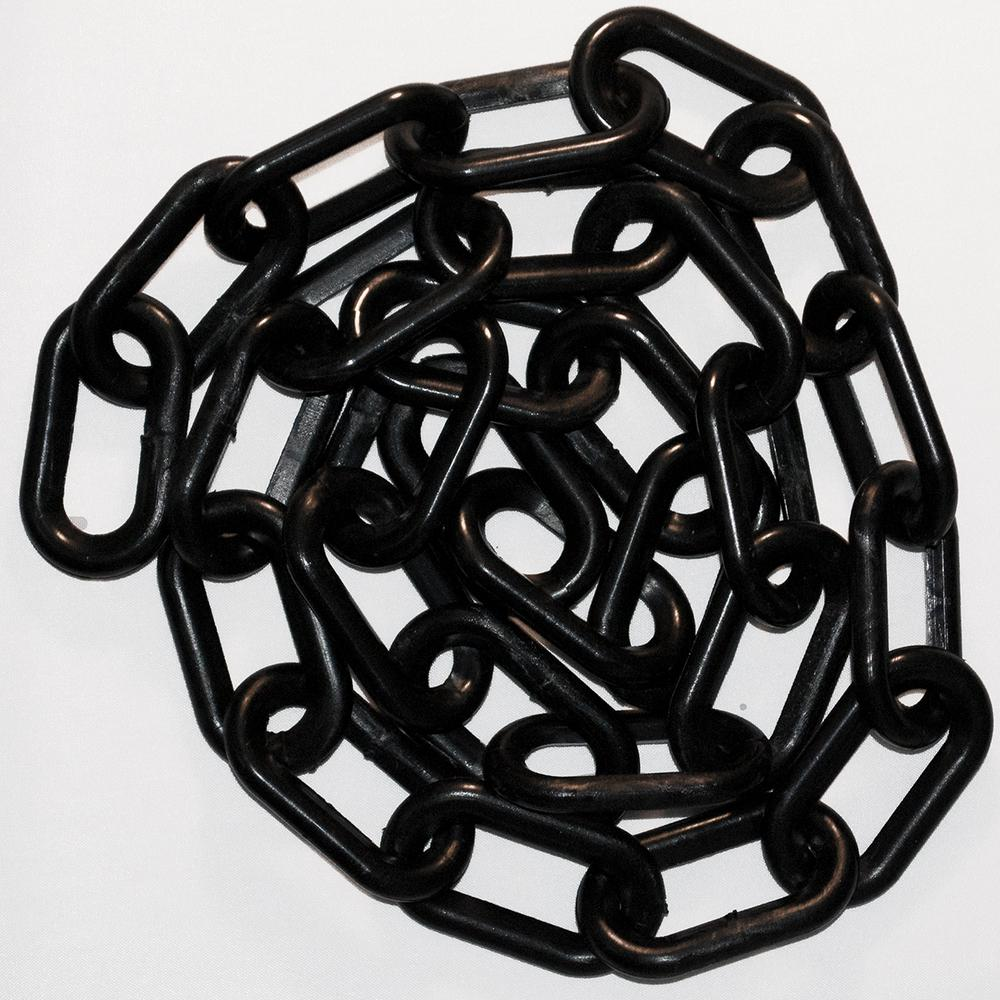 Mr. Chain 2 in. x 100 ft. Black Plastic Chain 2 in. Black plastic chain is ideal for creating visual barriers. Lightweight, strong and durable, it can provide years of service. From Mr. Chain, the original manufacturer of plastic chain.
