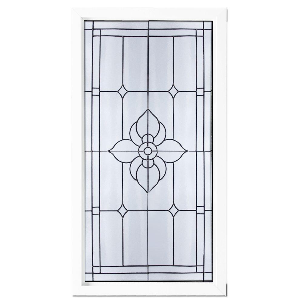 null Black Patina Caming Spring Flower PE Pattern Decorative Glass White Vinyl Fin Picture Window-DISCONTINUED