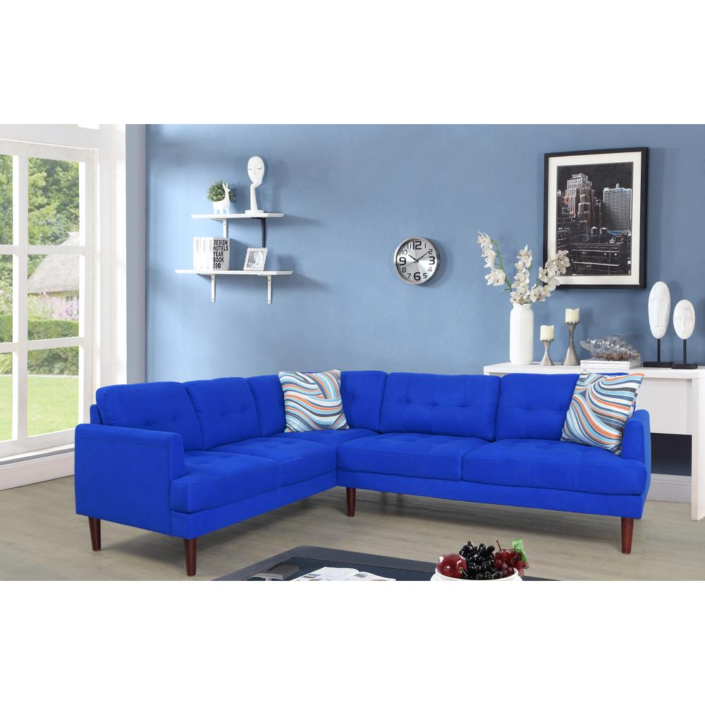 Blue Tufted Left Sectional Sofa Set (2-Piece)