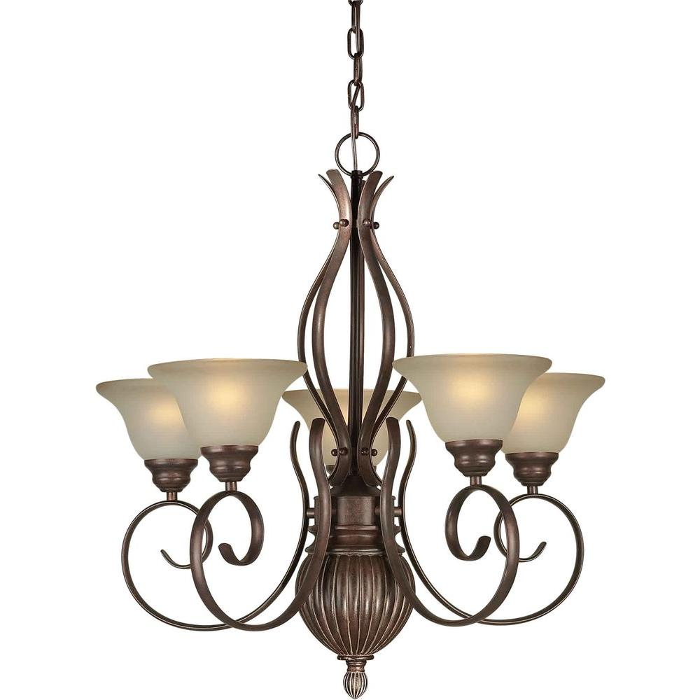 Talista 5-Light Black Cherry Chandelier with Umber Glass Shade