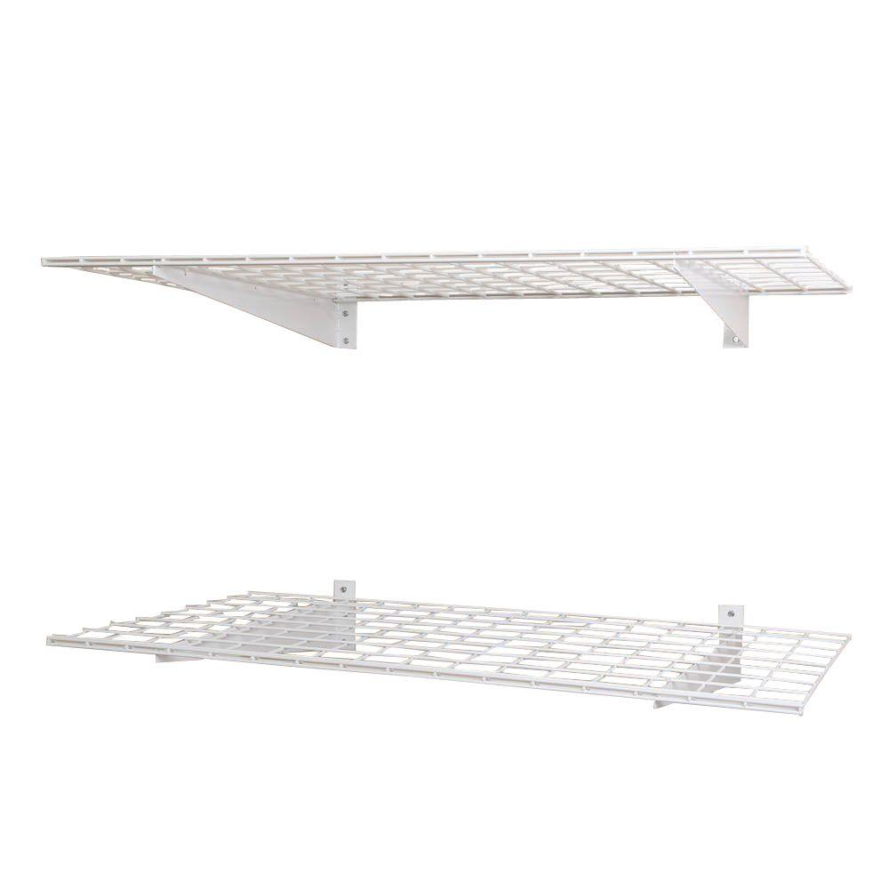 Wall mounted shelves garage shelves racks the home depot 2 shelf 48 in w wire garage wall storage system in white amipublicfo Choice Image
