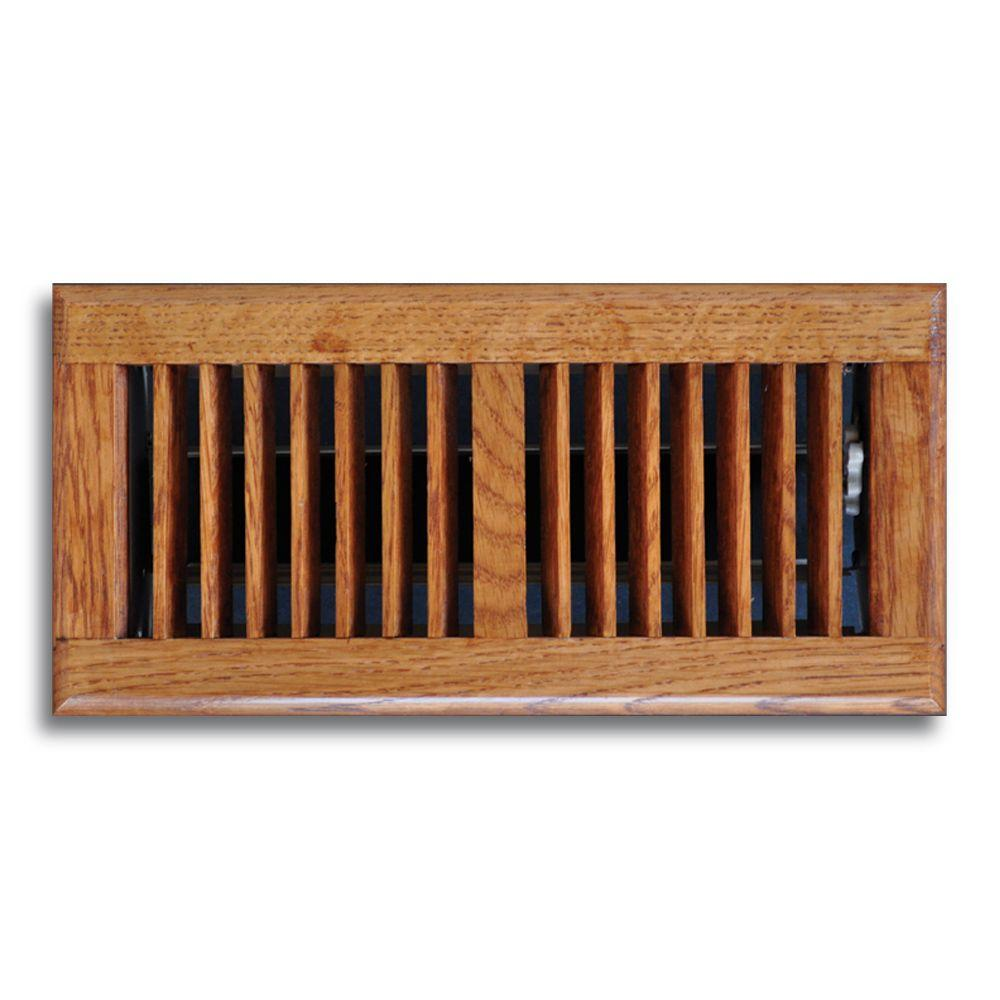 New Oak Floor Diffuser Wood 4 In. x 10 In. 2-Way Air Register Vent Cover Heating
