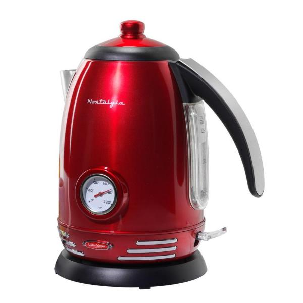 Nostalgia Retro 7-Cup Red Cordless Electric Kettle with Temperature Display