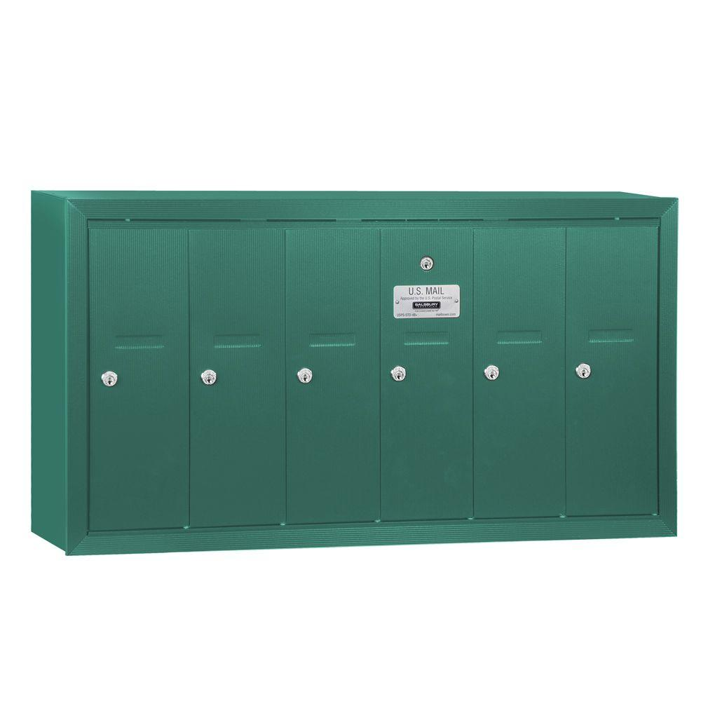 Salsbury Industries Green Surface-Mounted USPS Access Vertical Mailbox with 6 Doors