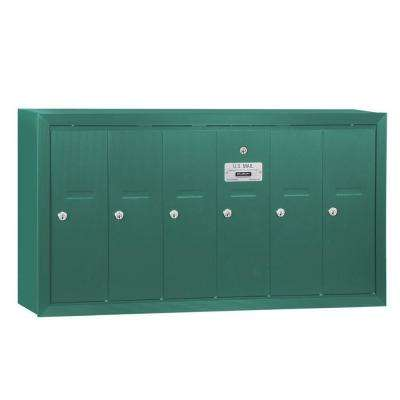 Green Surface-Mounted USPS Access Vertical Mailbox with 6 Doors