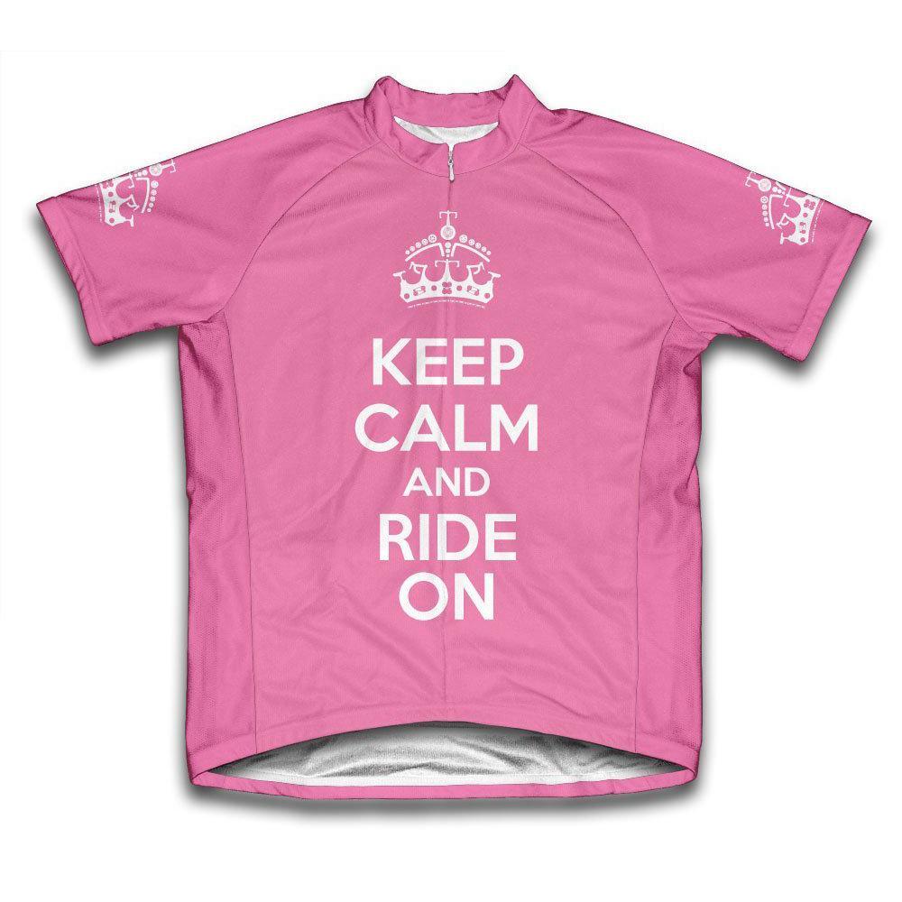 Ladies Medium Pink Keep Calm and Ride on Microfiber Short-Sleeved Jersey