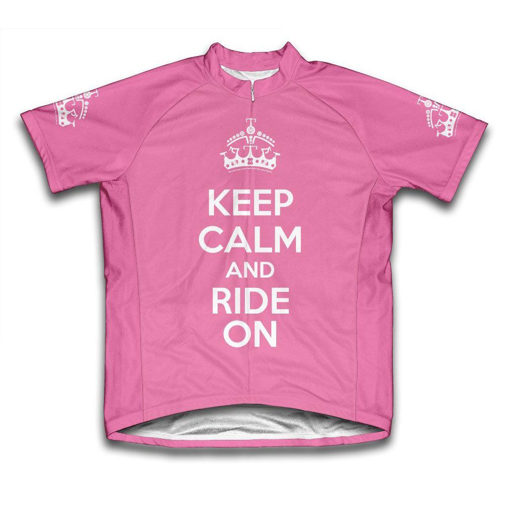 Ladies Extra Large Pink Keep Calm and Ride on Microfiber Short-Sleeved