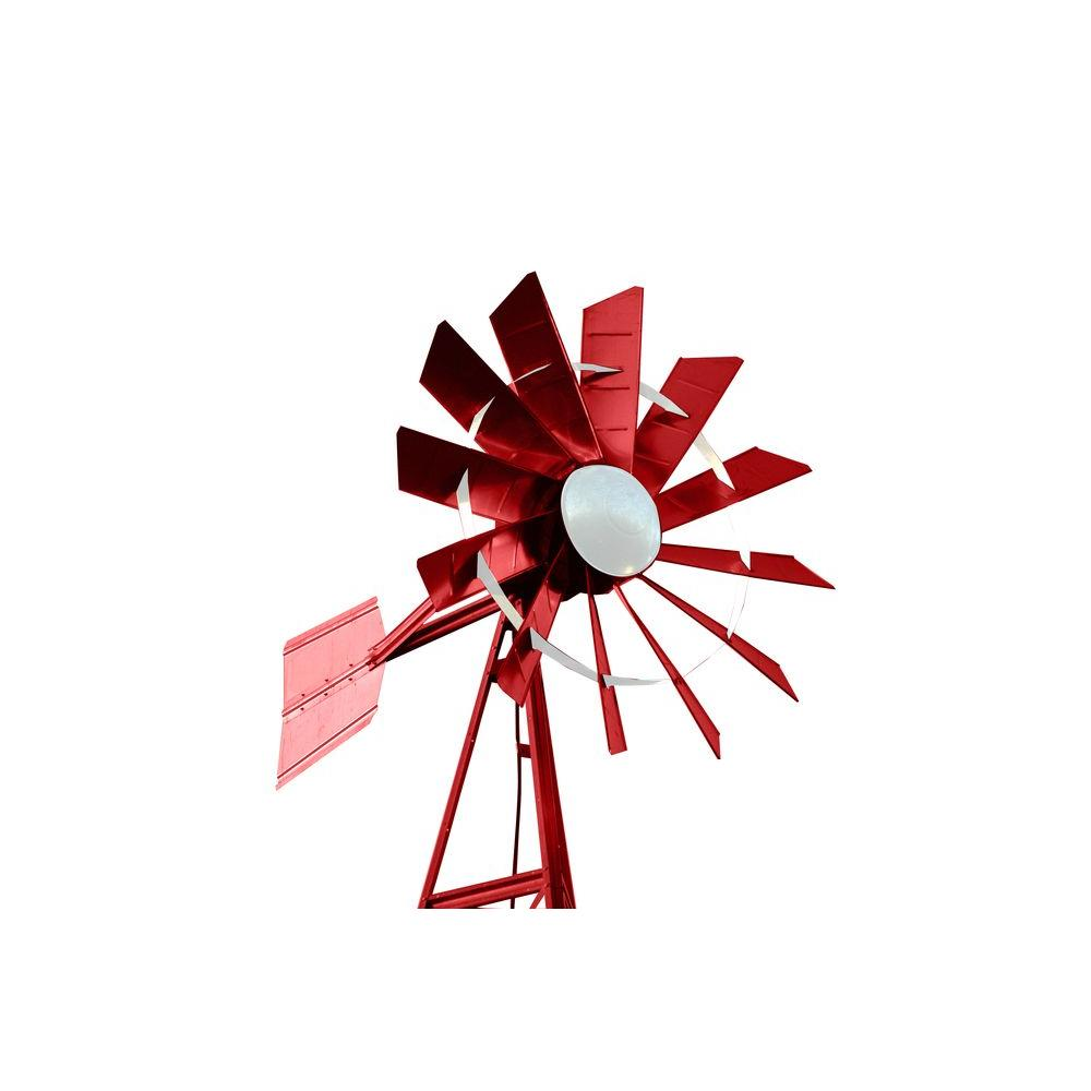 Outdoor Water Solutions 20 ft. Red and White Powder Coated Windmill Aeration System
