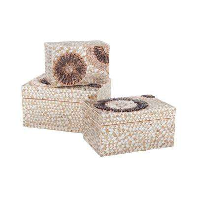 Urchin 12 in. x 3 in. Natural Capiz Shell Decorative Box