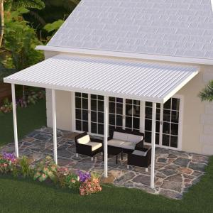 Integra 18 Ft X 10 Ft White Aluminum Attached Solid Patio Cover With 4 Posts 20 Lbs Live Load 1252006701018 The Home Depot