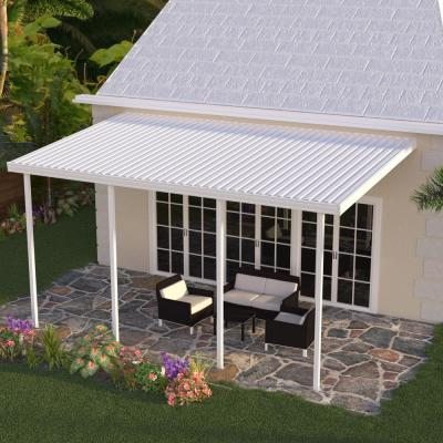 20 ft. x 10 ft. White Aluminum Attached Solid Patio Cover with 4 Posts (10 lbs. Live Load)
