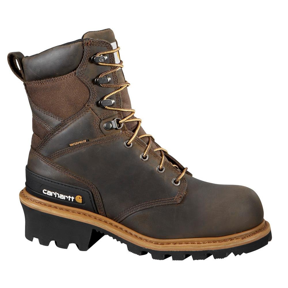 ad71d7c0b93 Carhartt Woodworks Men's 11.5W Brown Leather Waterproof Composite Safety  Toe 8 in. Work Boot