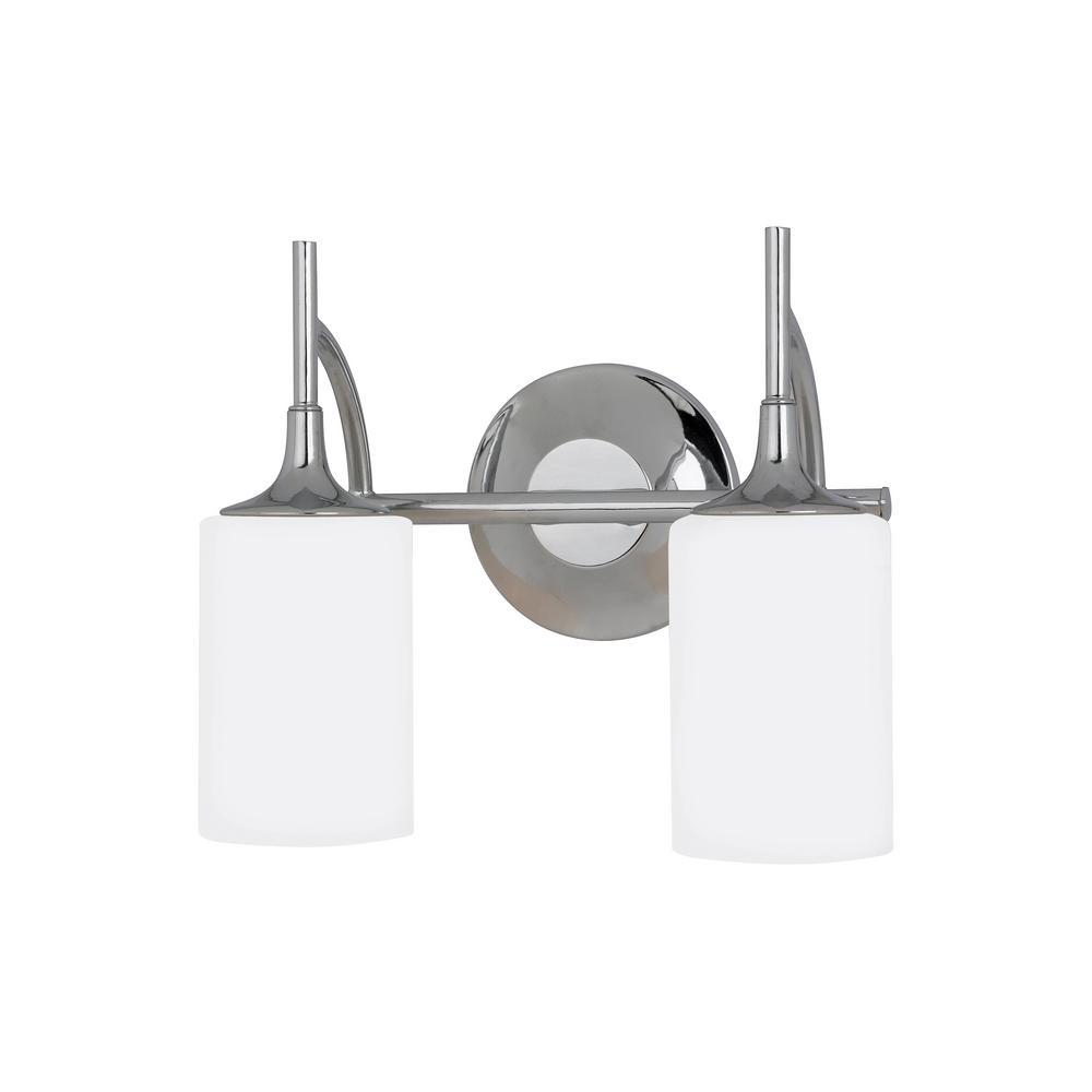 Stirling 2-Light Chrome Bath Light with LED Bulbs