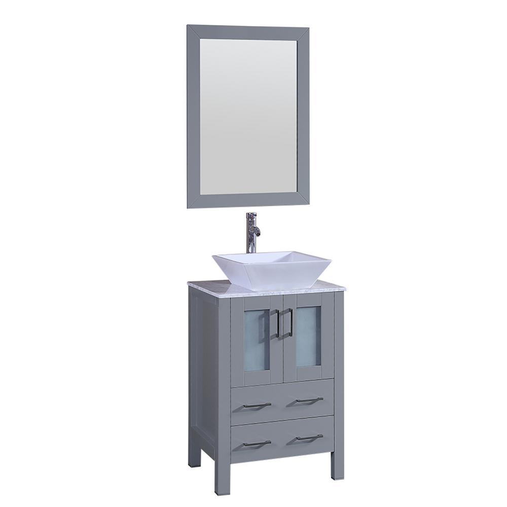 Bosconi 24 In W Single Bath Vanity With Carrara Marble Top Gray White Basin And Mirror