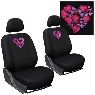 Polyester Seat Covers Set 24 in. L x 21 in. W x 40 in. H 6-Piece Embroidered Hearts Detachable Bucket Seat Cover