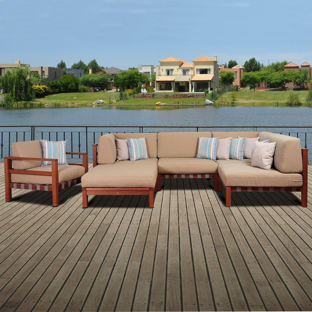 Maya 6 Piece Eucalyptus Patio Sectional Set With Khaki Cushions By Jamie Durie