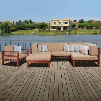 Maya 6-Piece Eucalyptus Patio Sectional Set with Khaki Cushions by Jamie Durie