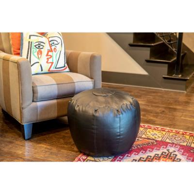 Preena Black Faux-Leather Pouf