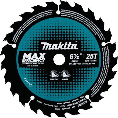 6-1/2 in. 25T Carbide-Tipped Max Efficiency Ultra-Thin Kerf Circular Saw Blade, Framing