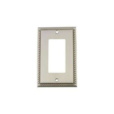 Rope Switch Plate with Single Rocker in Satin Nickel