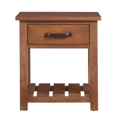 Danforth Square Antique Patina Finish Wood 1 Drawer End Table (22 in. W x 24.5 in. H)
