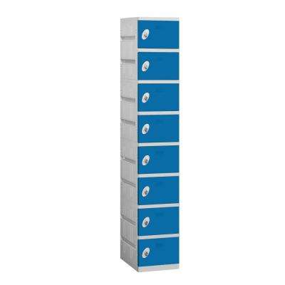 98000 Series 12.75 in. W x 74 in. H x 18 in. D 8-Tier Plastic Lockers Unassembled in Blue