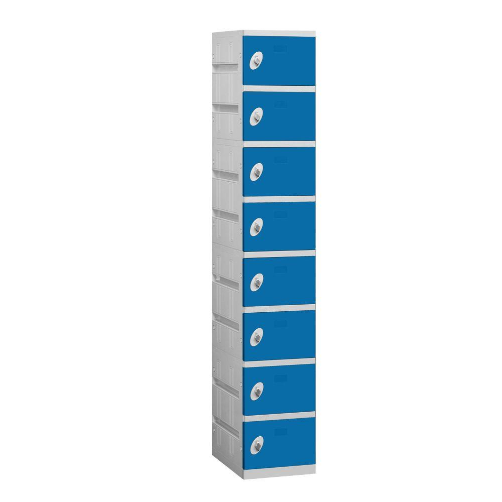 Salsbury Industries 98000 Series 12.75 in. W x 74 in. H x 18 in. D 8-Tier Plastic Lockers Unassembled in Blue