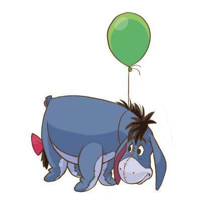 5 in. x 19 in. Winnie the Pooh - Eeyore 7-Piece Peel and Stick Giant Wall Decal