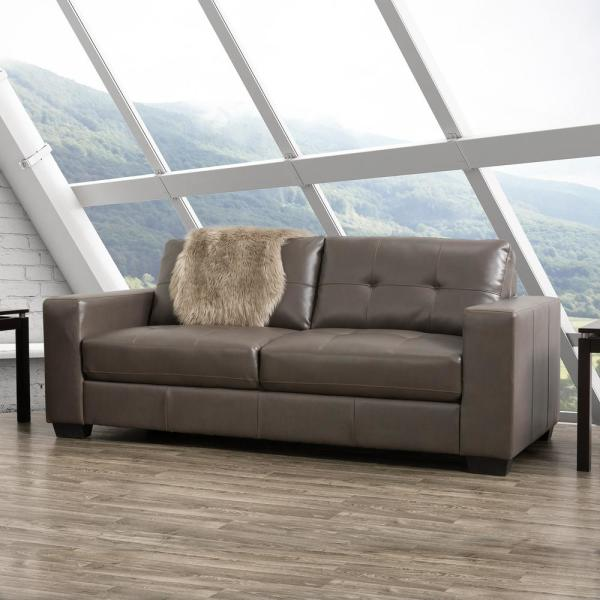 CorLiving Club Tufted Brownish-Grey Bonded Leather Sofa LZY-121-S