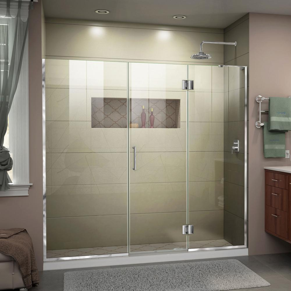 DreamLine Unidoor-X 62.5 to 63 in. x 72 in. Frameless Hinged Shower Door in Chrome