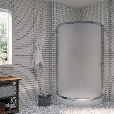 Breeze 36 in. x 36 in. x 76 in. Shower Kit with Intimacy Glass, Shower Base in White
