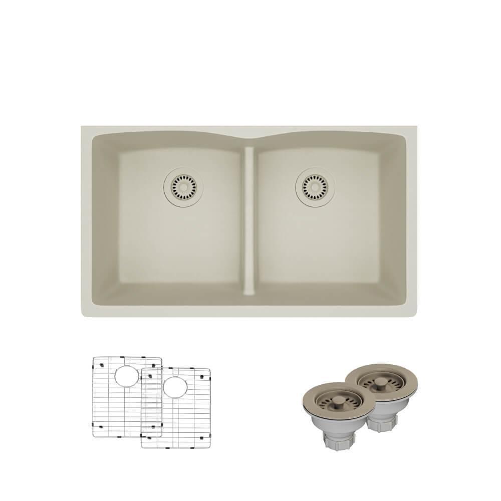 Undermount Quartz 33 In. Double Bowl Kitchen Sink In Concrete