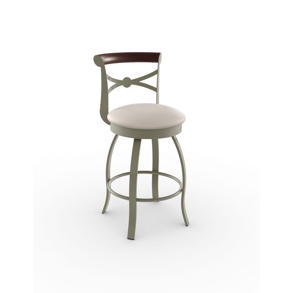 Wooden Revolving Stool Light Brown Swivel Bar Pub Chair: Amisco Bourbon 26 In. Matt Light Grey Metal Beige