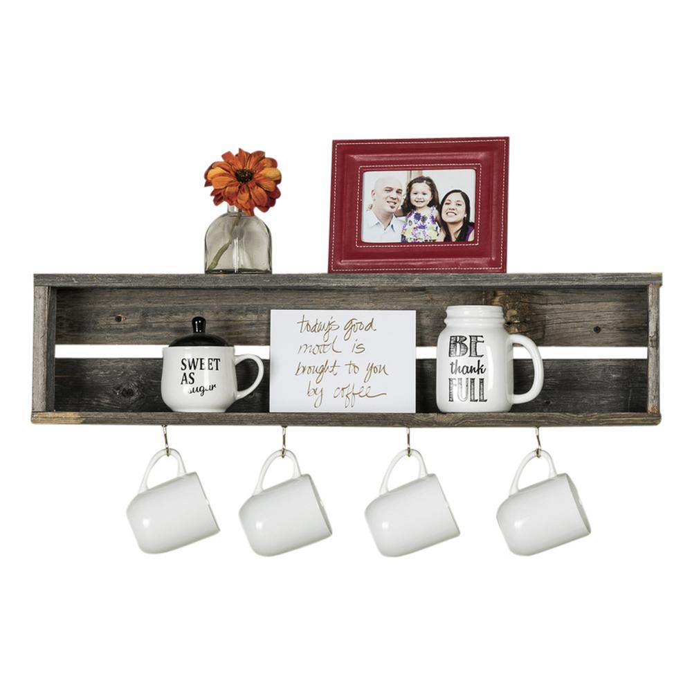 30 in. W x 4 in. D Reclaimed Wood Natural Coffee Hook Decorative Shelf