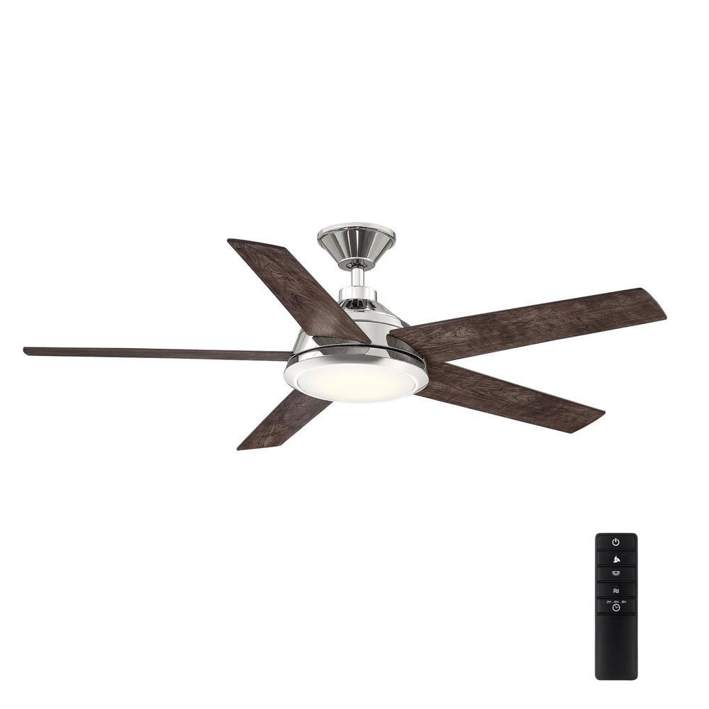 HomeDecoratorsCollection Home Decorators Collection Haverbrook 52 in. LED Polished Nickel Ceiling Fan with Light