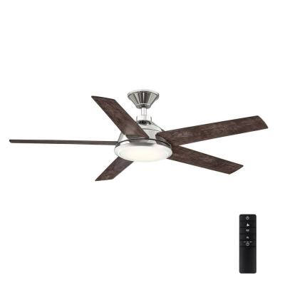 Haverbrook 52 in. LED Polished Nickel Ceiling Fan with Light