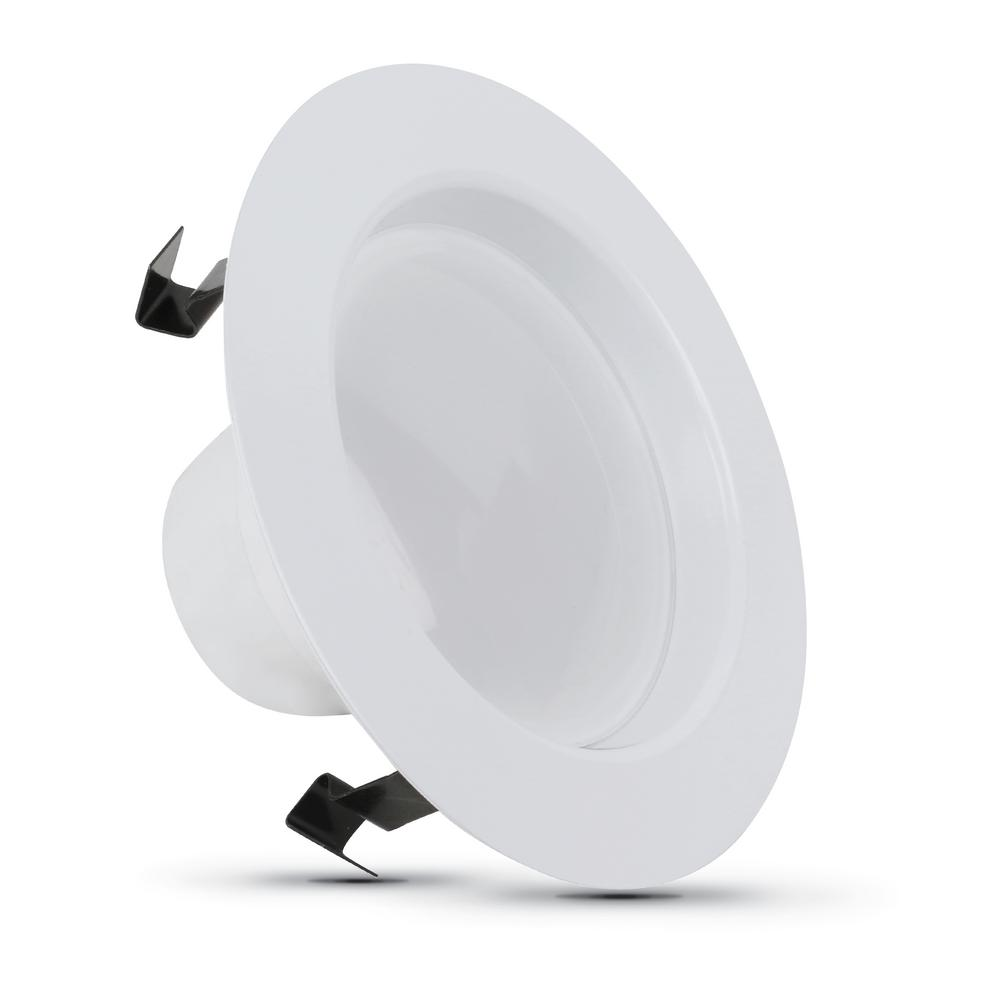 Feit Electric 4 in. 75-Watt Equivalent Dimmable CEC Title 20 White Integrated LED Recessed Retrofit Trim Downlight, Daylight