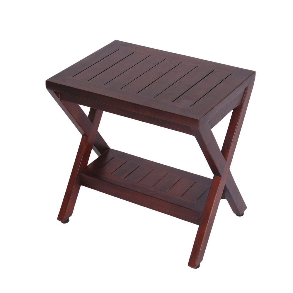Decoteak Obliquity Teak Shower Bench With Shelf