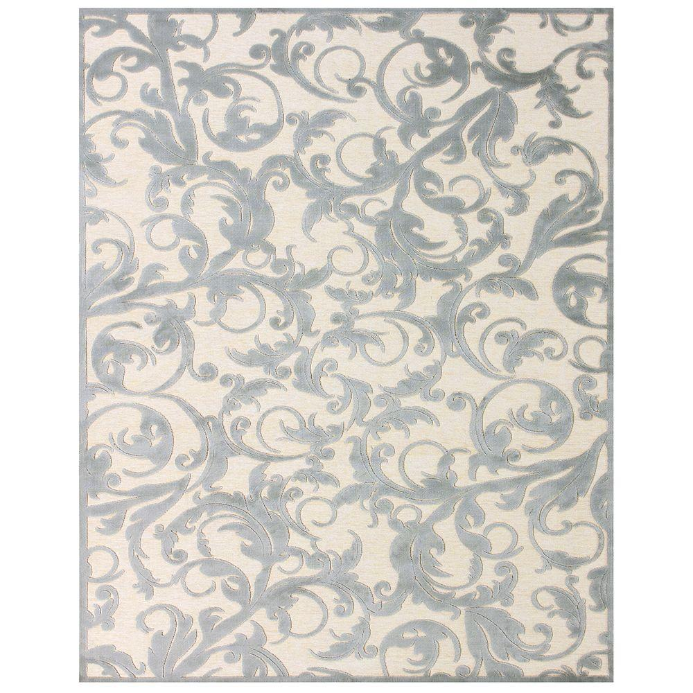 Feizy Saphir Zam Cream/Silver 2 ft. 2 in. x 4 ft. Indoor Accent Rug
