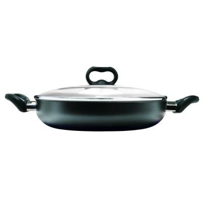 Evolve 12 in. Aluminum Nonstick Frying Pan in Black with Glass Lid