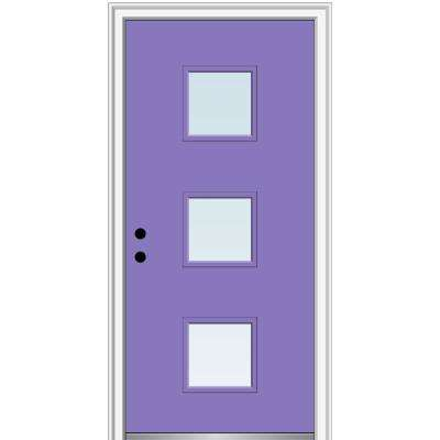 30 in. x 80 in. Aveline Right-Hand Inswing 3-Lite Clear Low-E Glass Painted Steel Prehung Front Door on 4-9/16 in. Frame