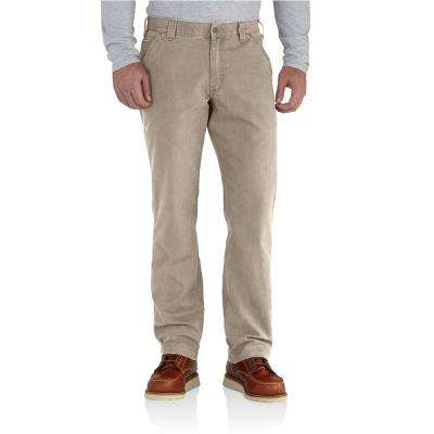 Men's 44 in. x 34 in. Tan Cotton/Spandex Rugged Flex Rigby Dungaree Pant