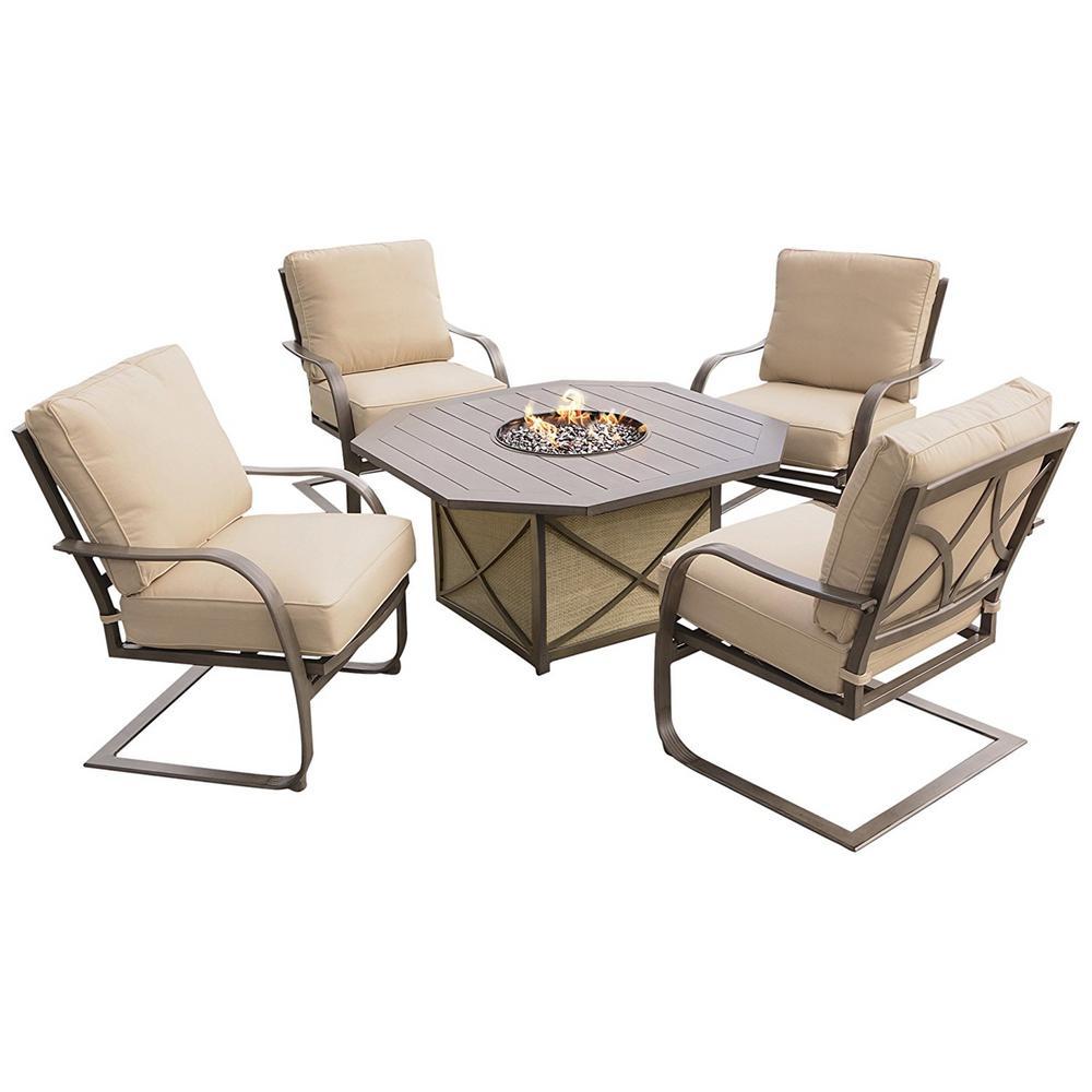 5-Piece Aluminum Patio Fire Pit Conversation Set with Sunbrella Beige Cushions