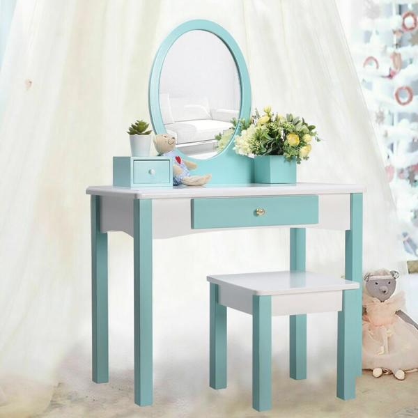 Veikous Wooden Kids Vanity Sets Makeup Table With Stool And Real Mirror Etszt 001 The Home Depot