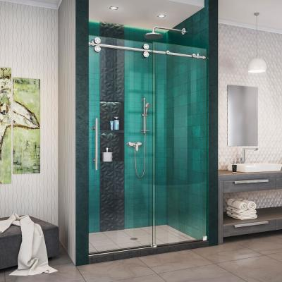 Enigma-XO 44-48 in. W x 76 in. H Fully Frameless Sliding Shower Door in Polished Stainless Steel